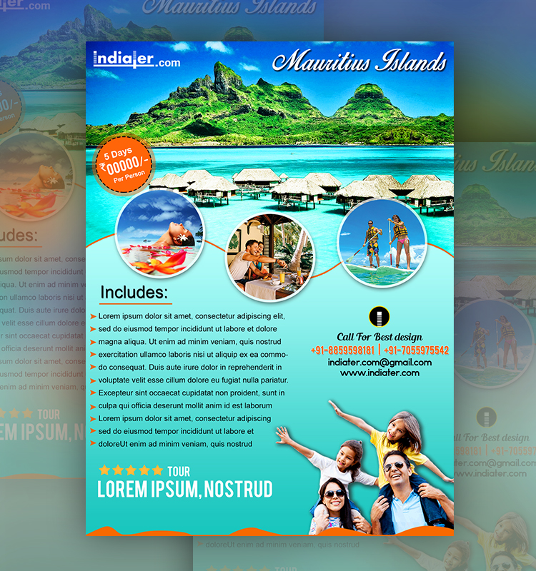 Travel flyer travel flyer design with famous world for Island brochure template