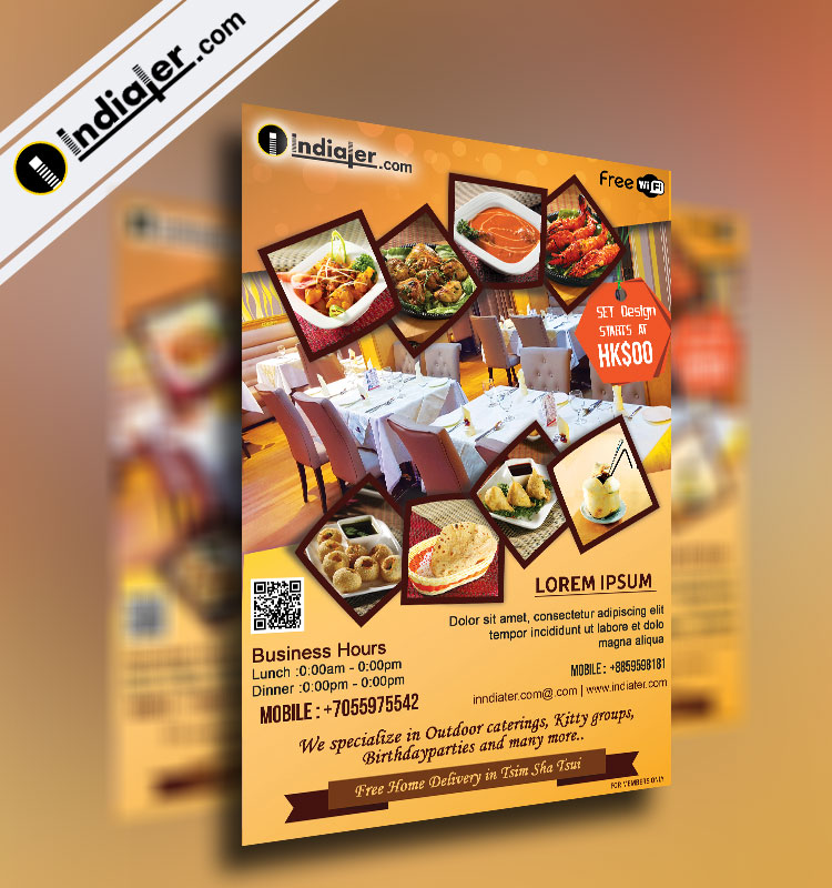 Restaurants Flyer Template  Indiater
