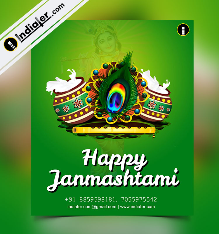 free happy janmashtami wishes card  flyer template  indiater