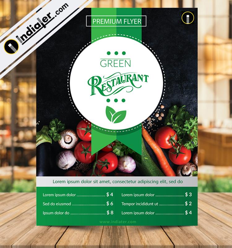 Fresh Green Restaurant Flyer Template
