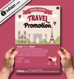 Free World Travel Promotion Flyer Vector