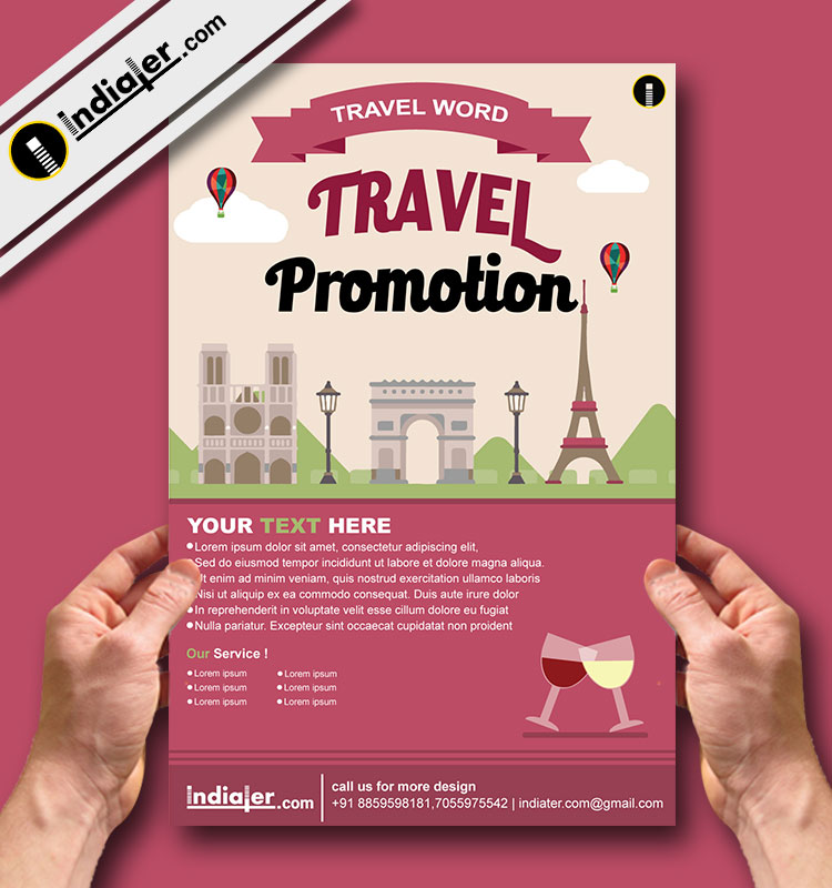 Free World Travel Promotion Flyer Vector Indiater