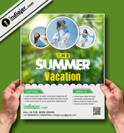 The Summer Vacation poster Free PSD Template