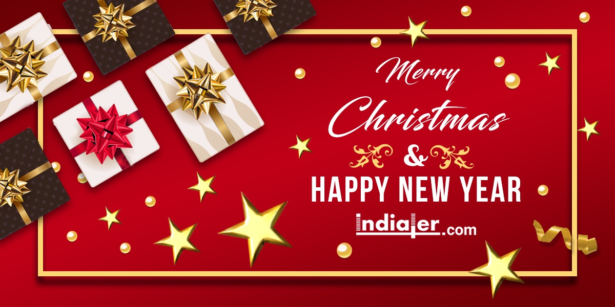 merry christmas and happy new year 2018 text psd banner