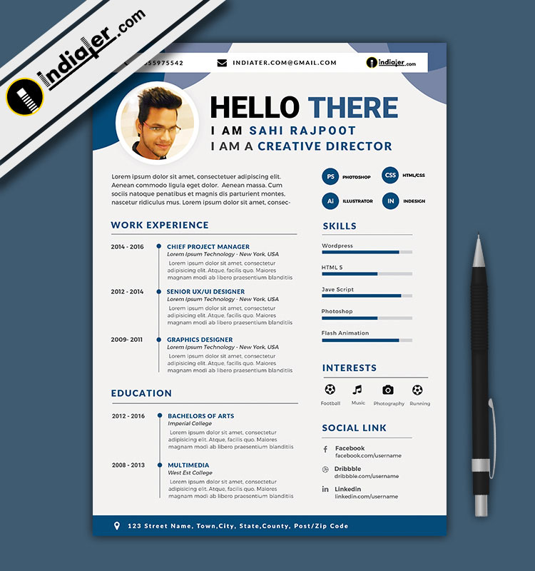Free Download Editable CV And Resume Format PSD File & Word Docx