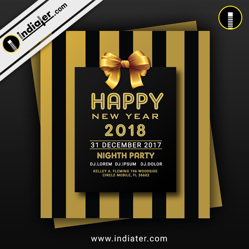 Golden and Black Happy New Year 2018 Party Invitation Greeting PSD ...