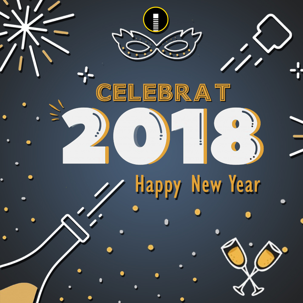 happy new year 2018 celebration creative design template