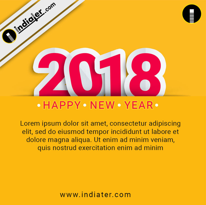 happy new year 2018 wishes greeting social media design psd template indiater