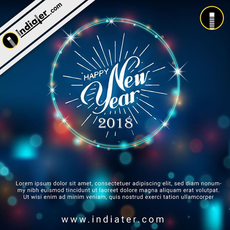 happy new year background with neontext bokeh effect psd template indiater