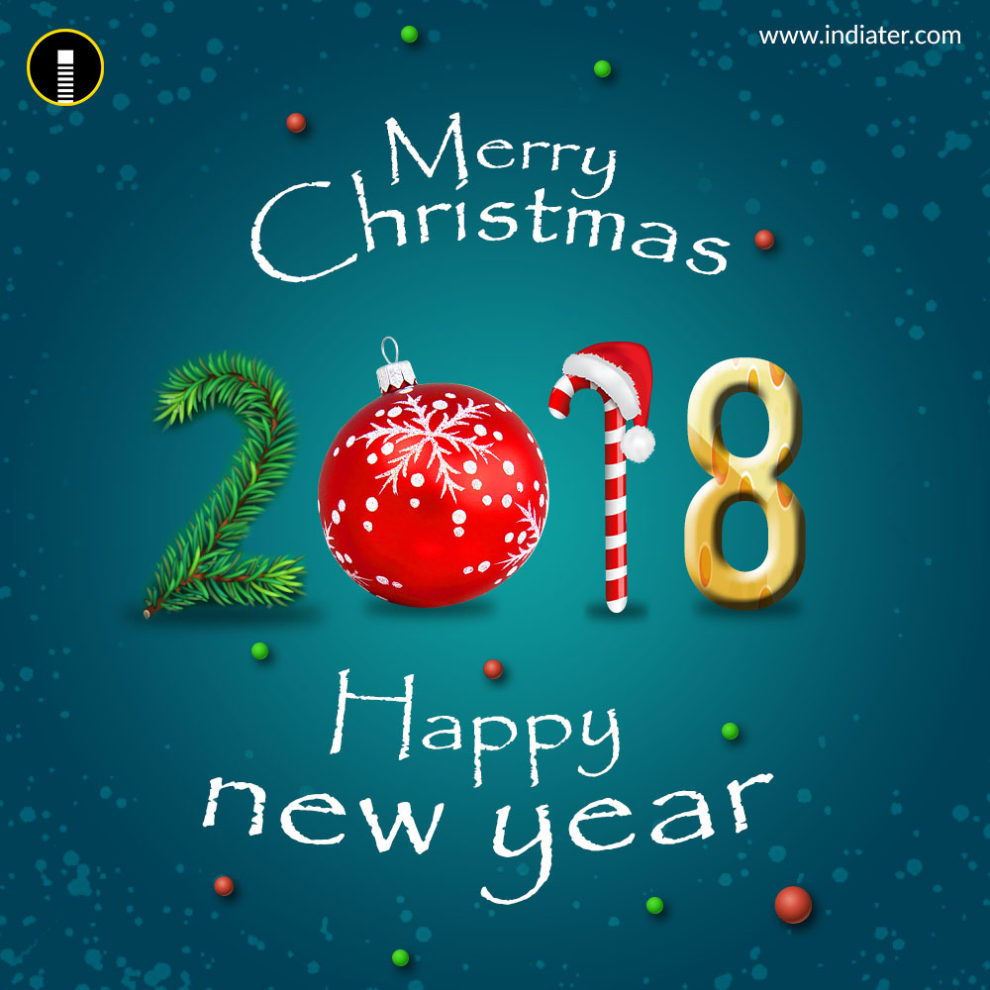 Merry Christmas and Happy New Year 2018 Greeting PSD ...