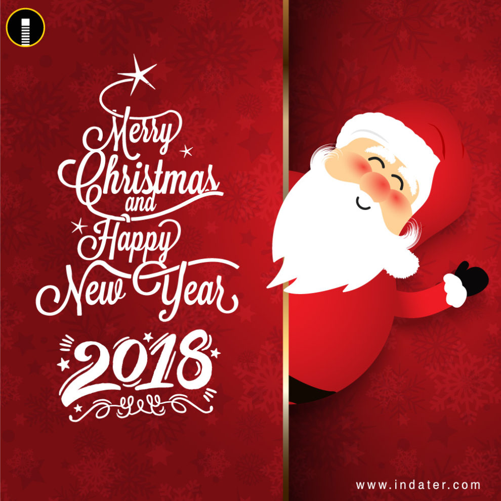 Happy New Year and Merry Christmas Greetings PSD Template - Indiater