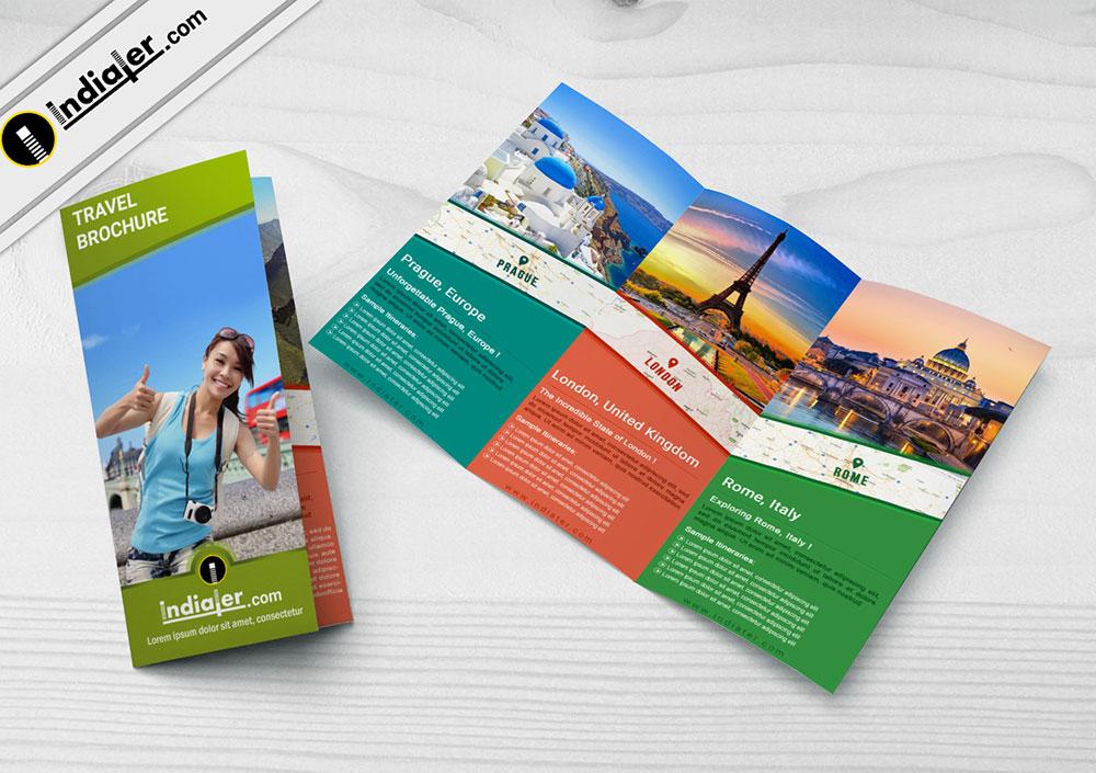 travel agency tri-fold brochure psd template