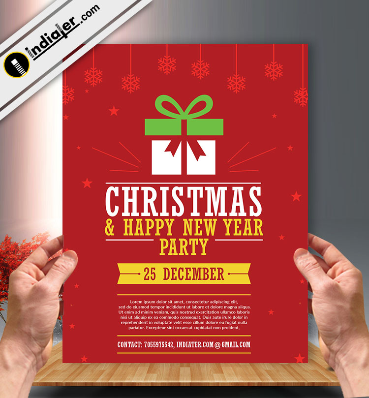 Xmas And New Year Party Free Psd Flyer Template V 2 Indiater