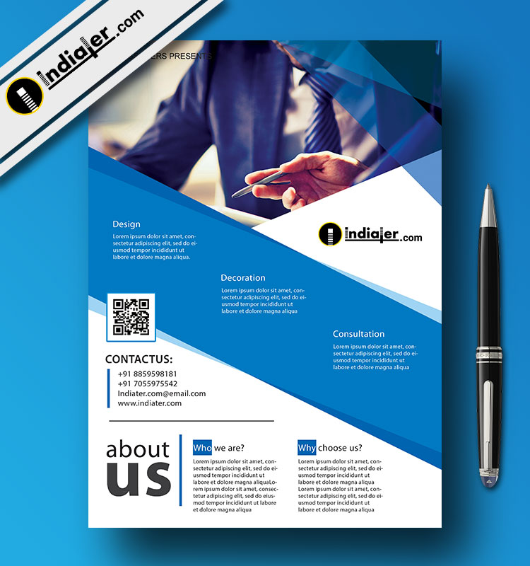 Blue corporate business flyer template free psd indiater for Free business flyer templates