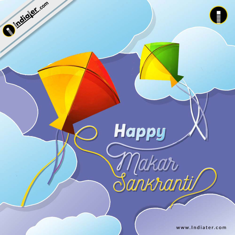 Happy Makar Sankranti festival creative with colorful kite Greeting