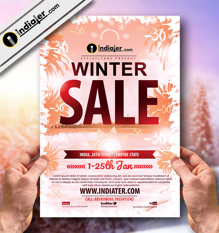 Winter Sale Banner Poster Flyer Template  Indiater