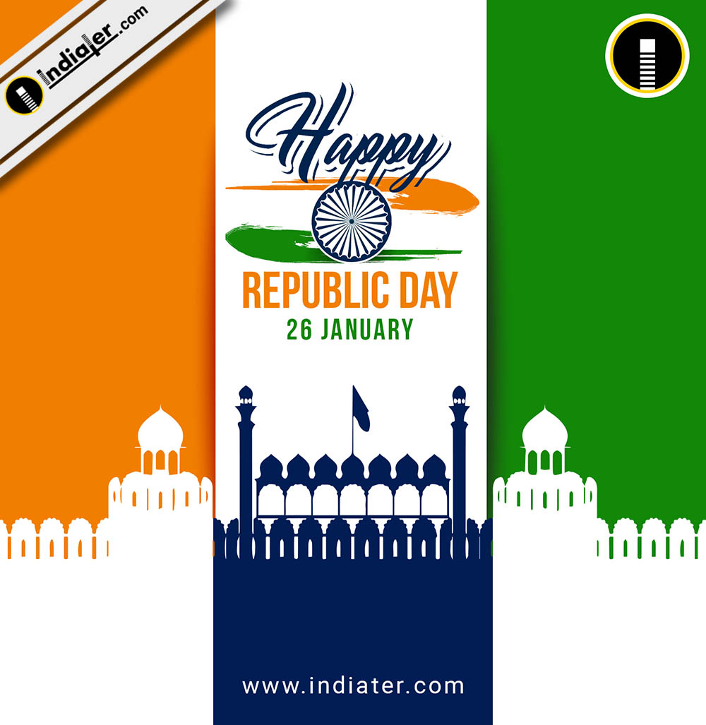 background for 26 january republic day with flag tricolor