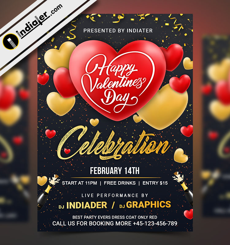 Free Happy Valentines Day Club Party Invitation Flyer PSD - Indiater
