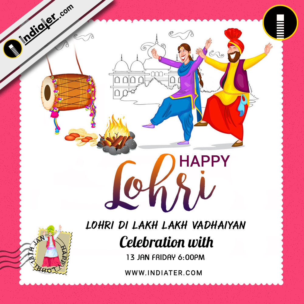 happy lohri invitation postcard greetings design psd