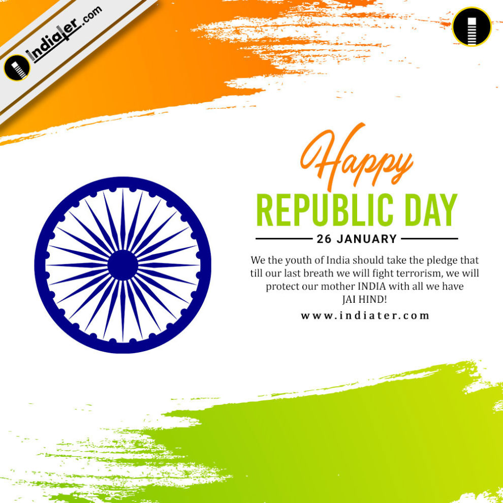 Happy Republic Day Celebration Background With National Flag