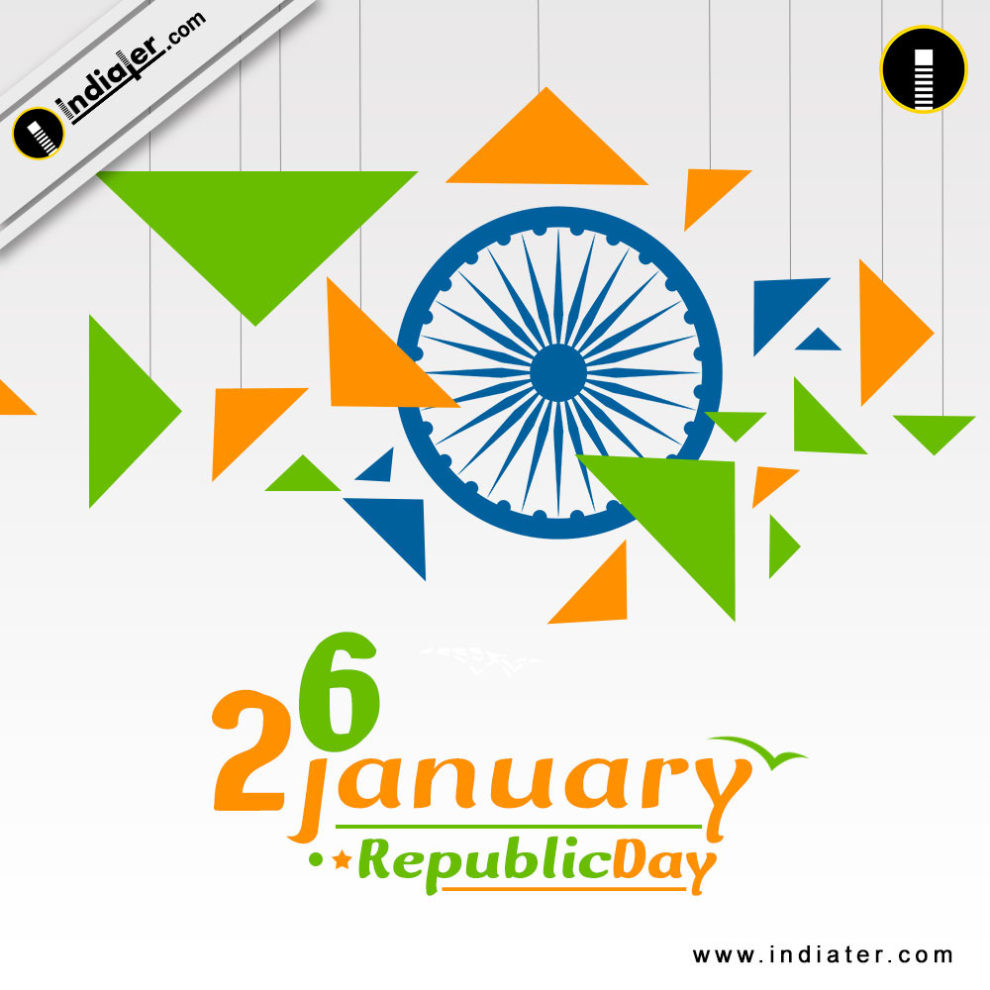 Happy republic day celebration with triangle shape color of indian happy republic day celebration with triangle shape color m4hsunfo