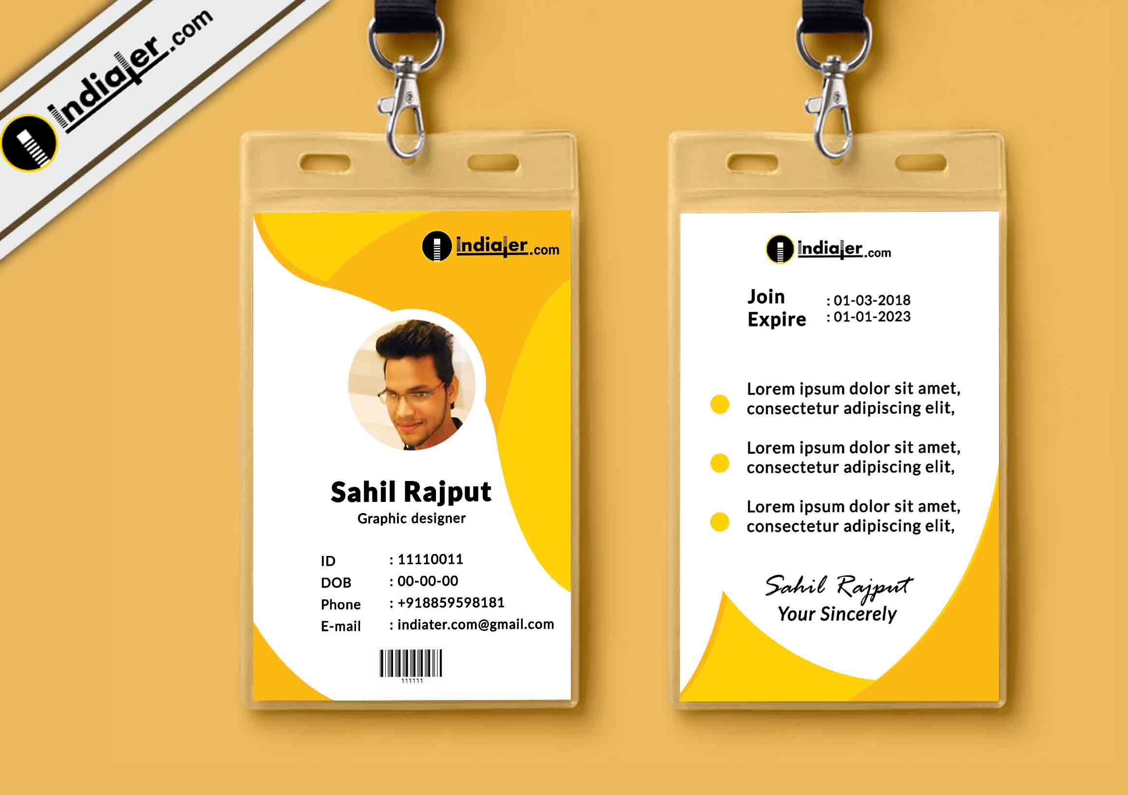 Multipurpose Corporate Office ID Card Free PSD Template
