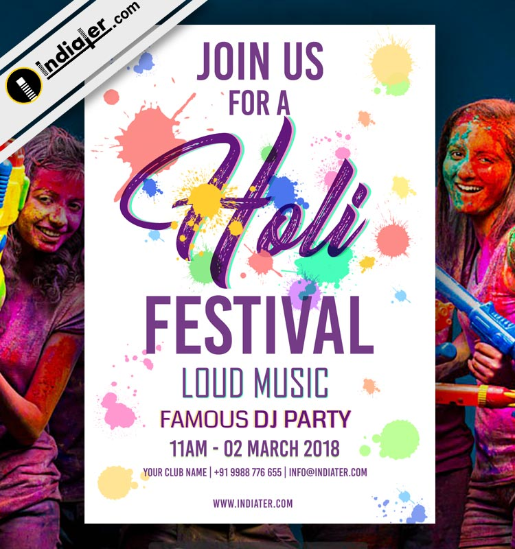 Colorful Happy Holi festival party invitation PSD - Indiater