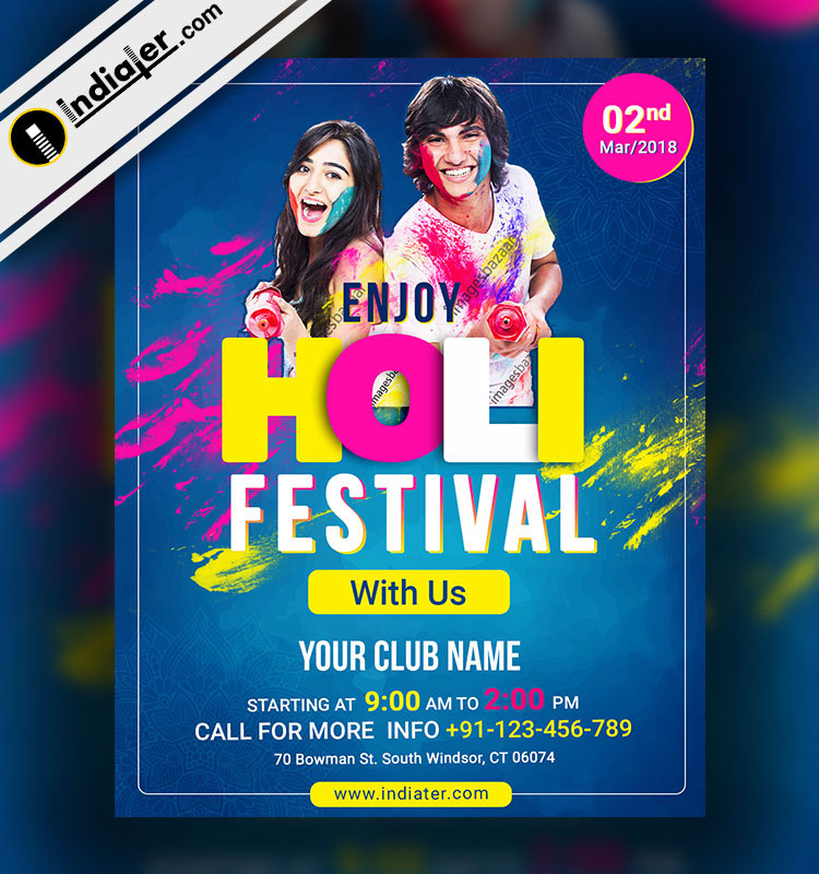 Free happy holi celebration event flyer template psd indiater free happy holi celebration event flyer template psd maxwellsz
