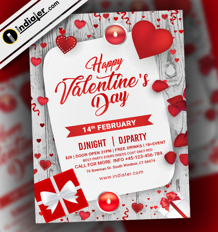 Free PSD Flyer for Happy Valentine's Day Party - Indiater