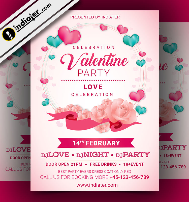 Free Valentine S Day Celebration Flyer Psd Template Indiater