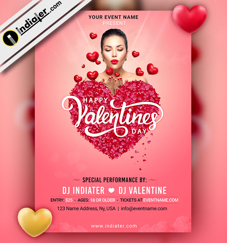 Indiater Valentines Day Flyer Design Free Psd Template Download