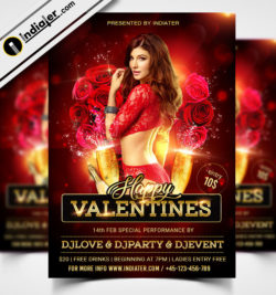 Valentines Day Night Club Party PSD Flyer Template