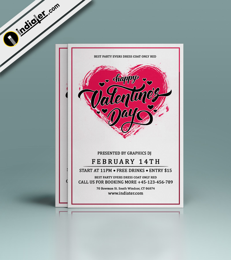 Valentines Day Party Invitation Free Flyer Template PSD - Indiater