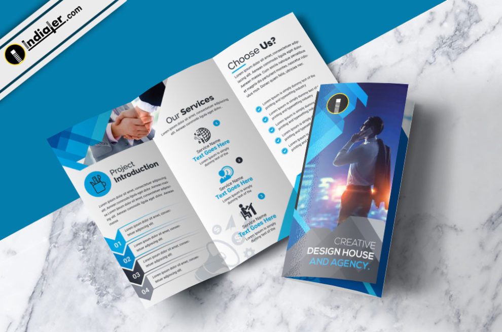corporate tri fold brochure free psd template indiater