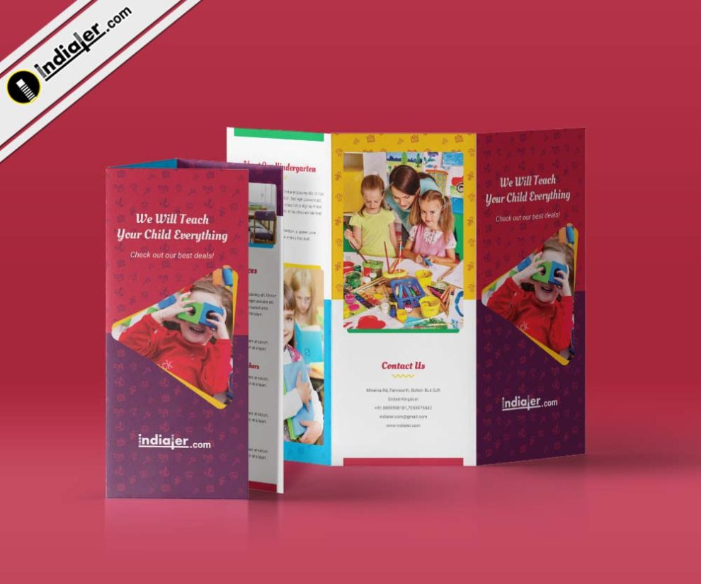 Kindergarten Tri Fold Brochure PSD Template Indiater - Brochure photoshop template