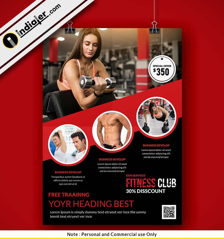 download fitness and gym flyer psd free indiater