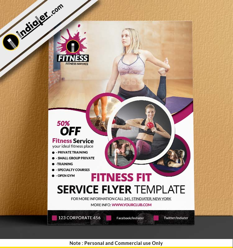 Fitness and Gym Services Flyer PSD Example