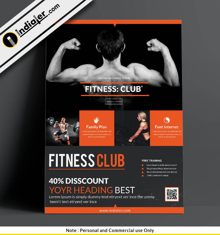 Fitness Club Flyer Design Psd Template Indiater