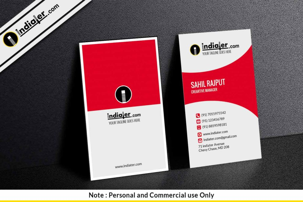 Free clean professional corporate vertical business card indiater free clean professional corporate vertical business card reheart Gallery
