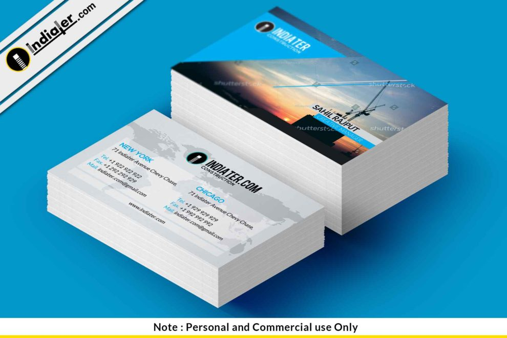 Free construction company business card template indiater free construction company business card template friedricerecipe Gallery