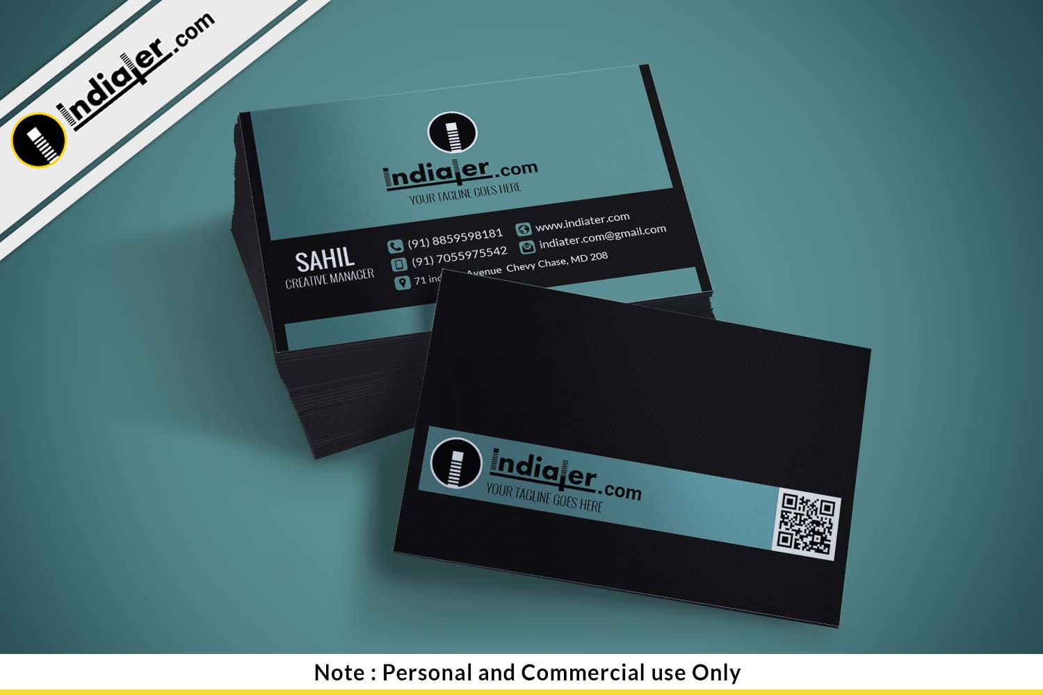 Indiater   Free Corporate Visiting Card PSD Template - Indiater