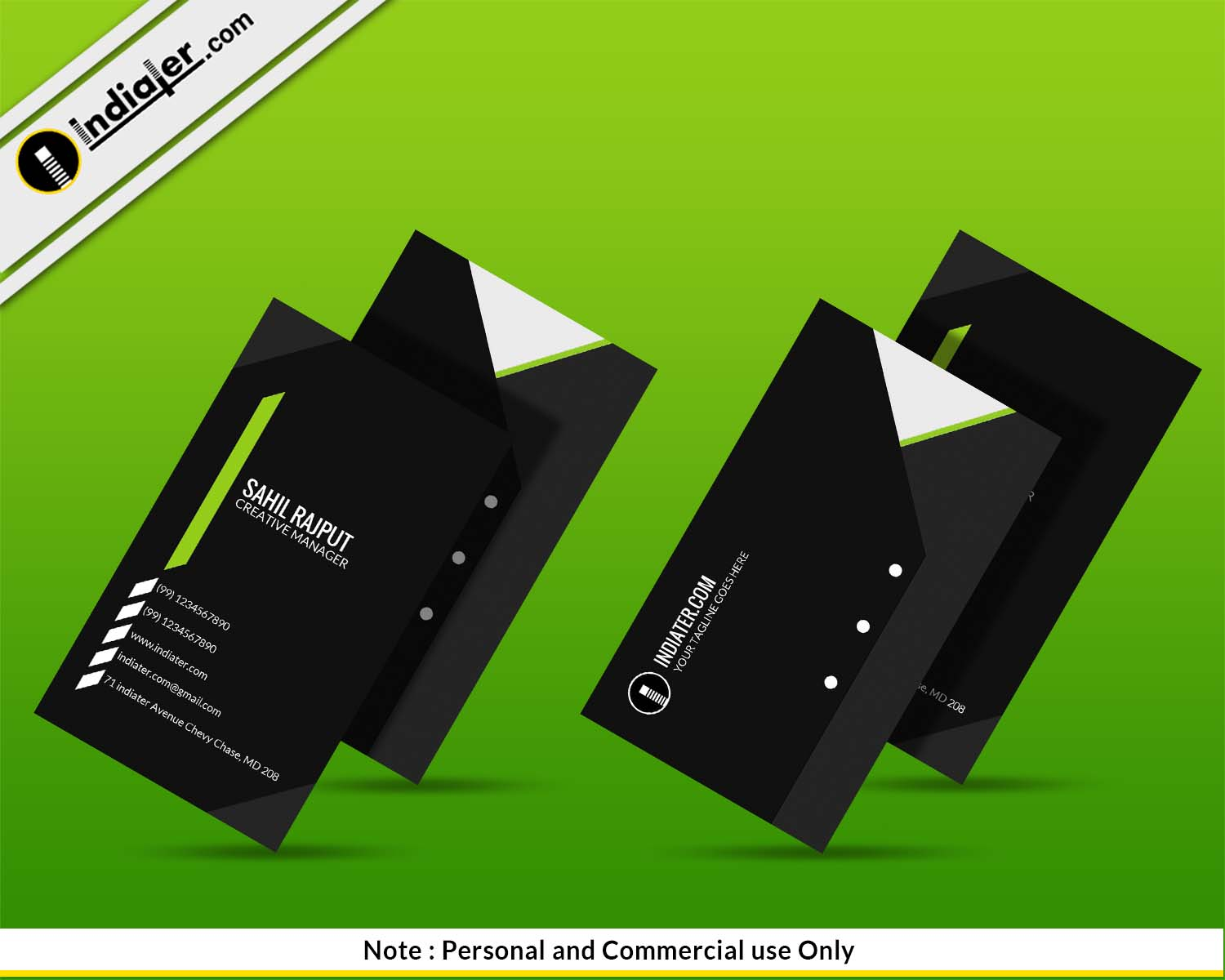 business card presentation template psd - free green premium business card psd template indiater