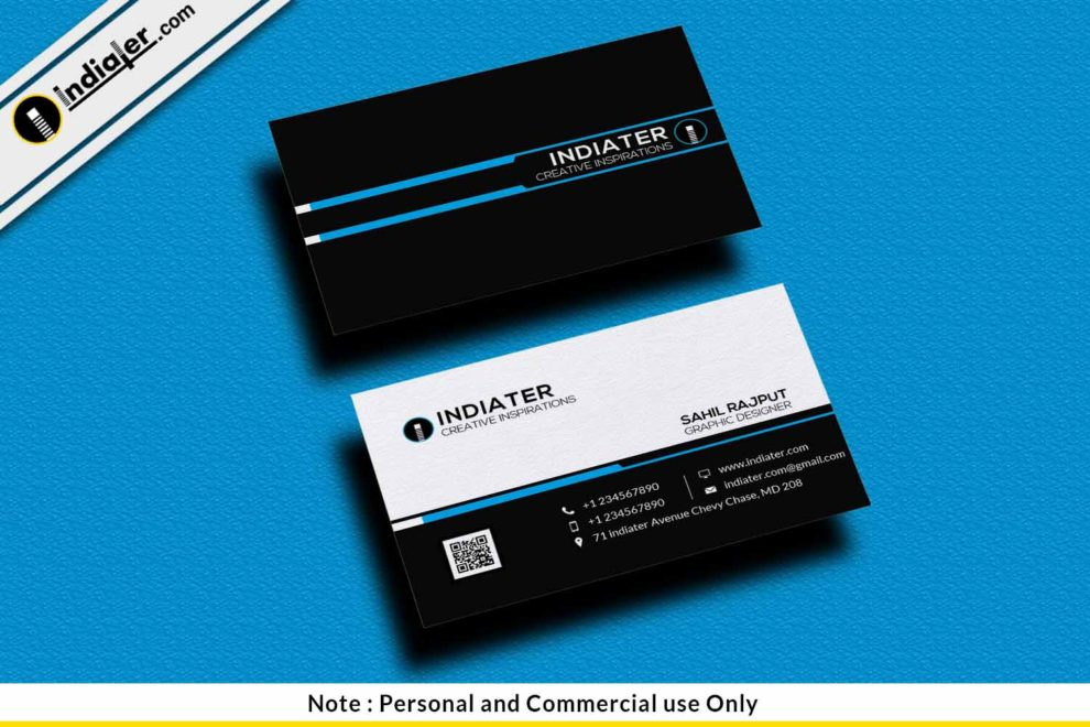 Free Simple Black Visiting Card Psd Template