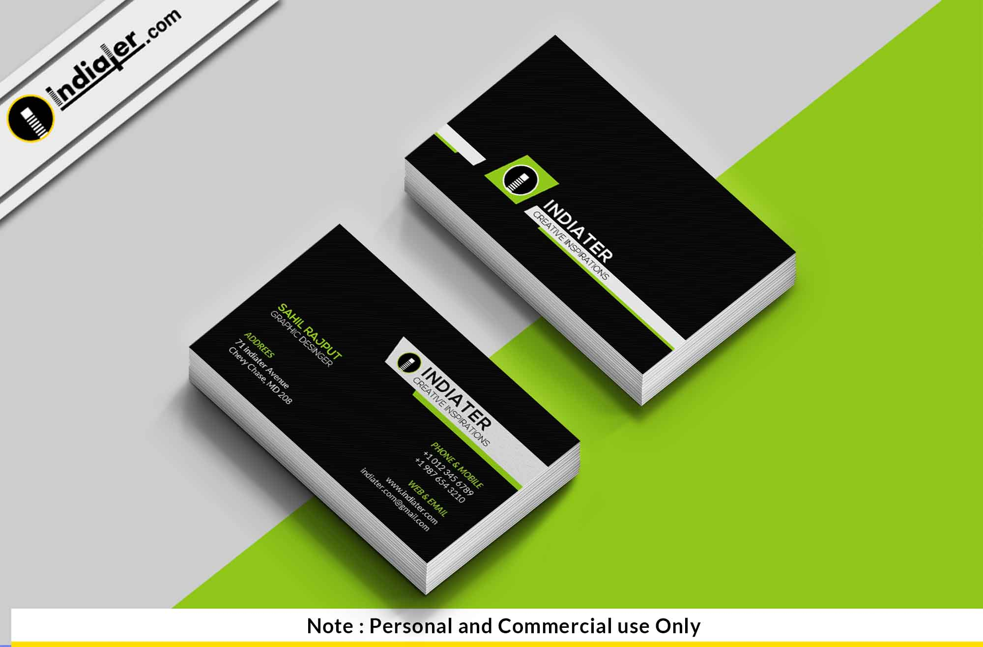 Indiater | Free Technology Company Business Card PSD Template - Indiater