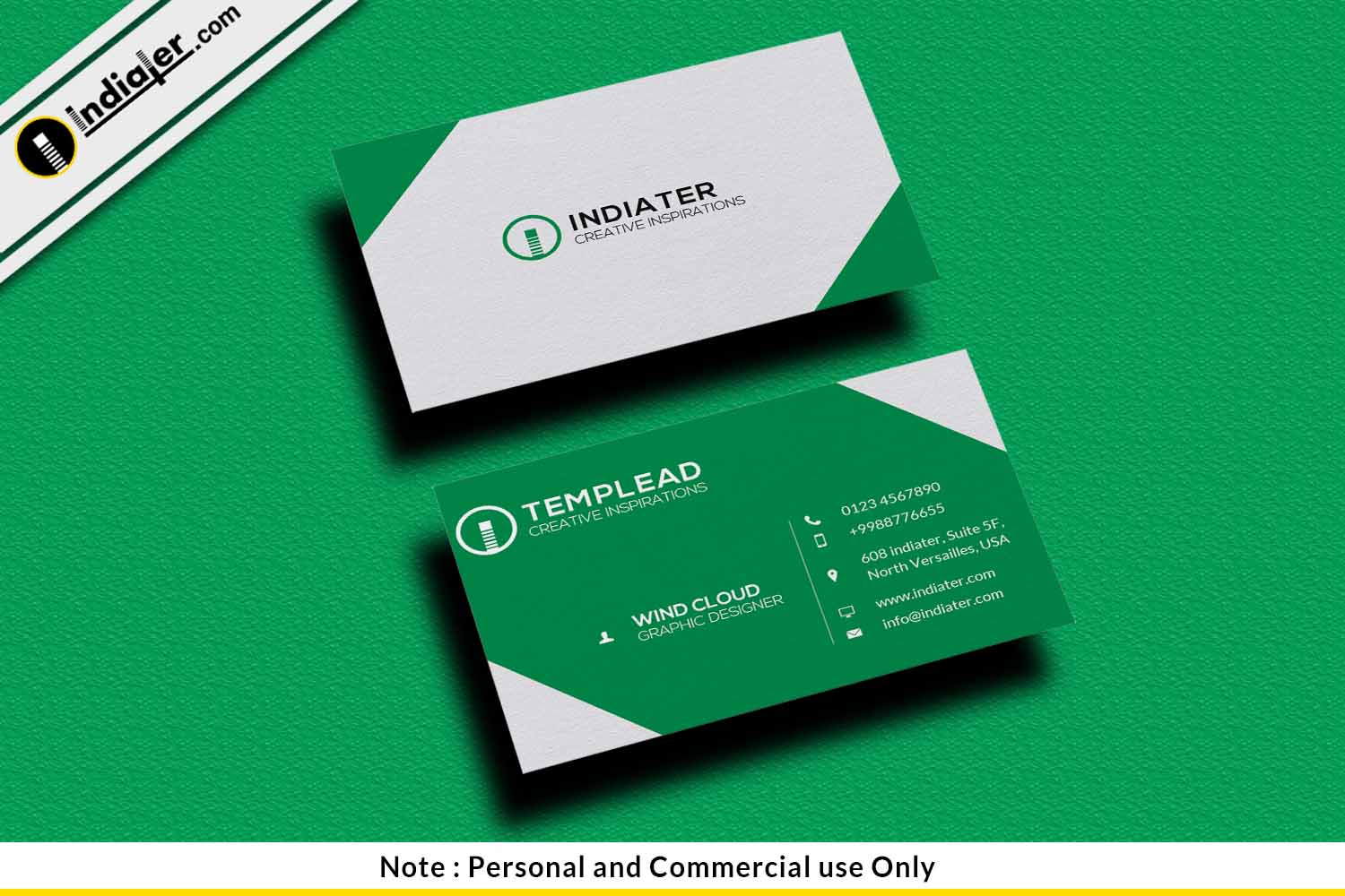 Indiater | Name Card PSD Template Free Download - Indiater