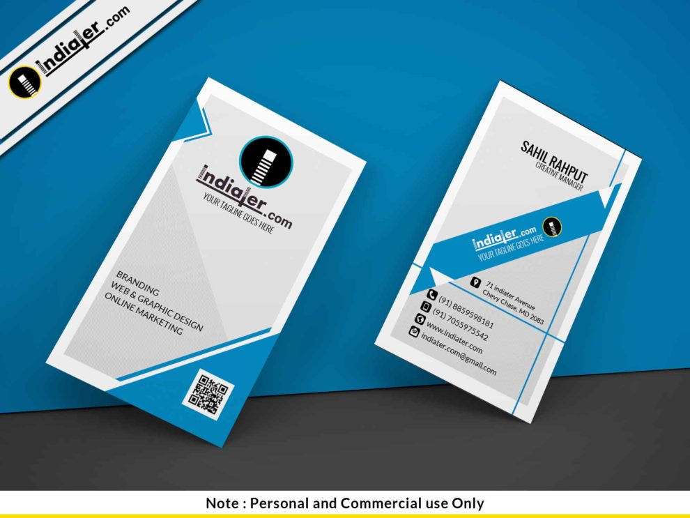 Vertical Professional Business Card Template - Indiater