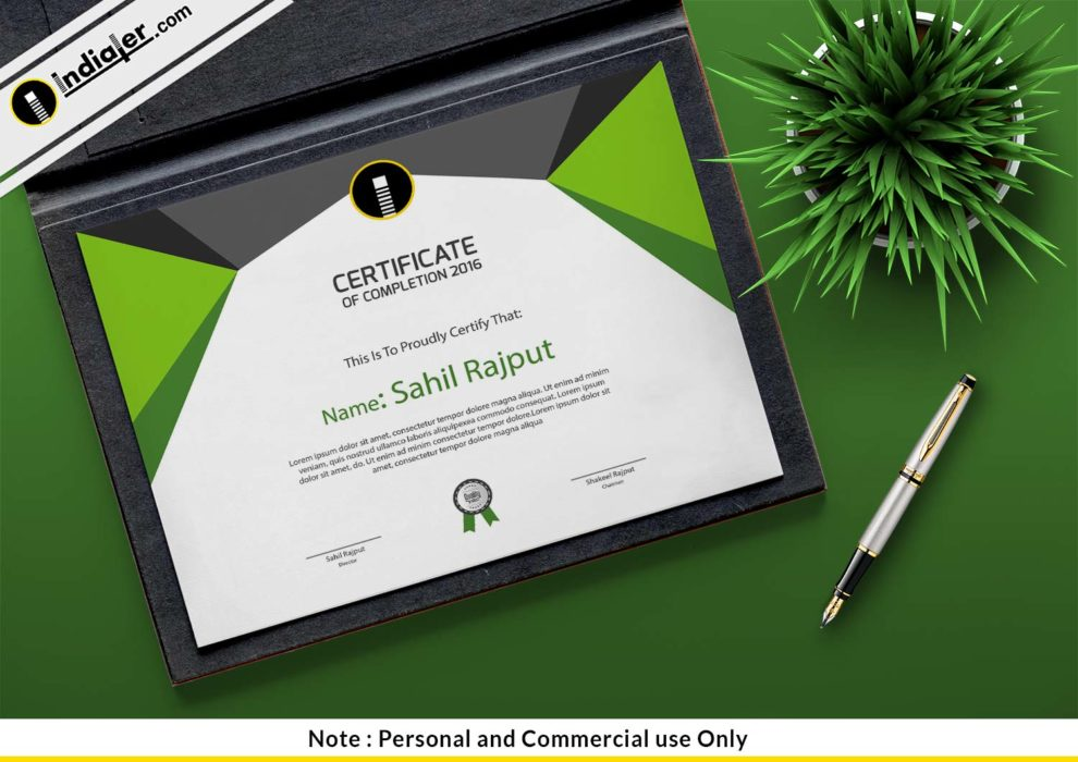 Free Certificate Of Completion Psd Template Indiater