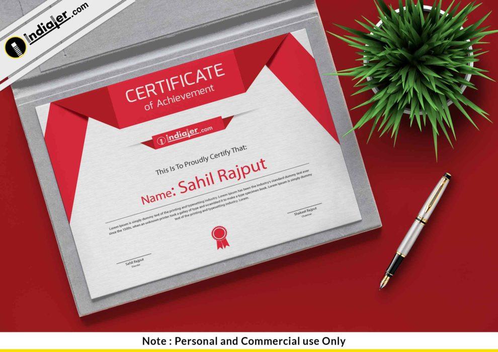 Free Modern Certificate Template Psd Indiater