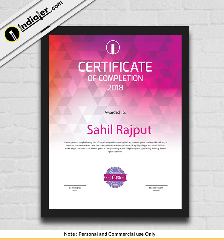 Free Modern Creative Certificate Psd Template Indiater