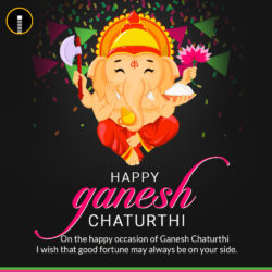 Creative Ganesh Chaturthi image Greetings Card with a quote